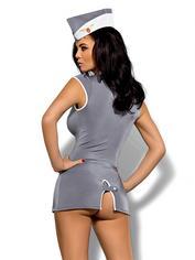 Obsessive Grey Air Hostess Costume, Grey, hi-res
