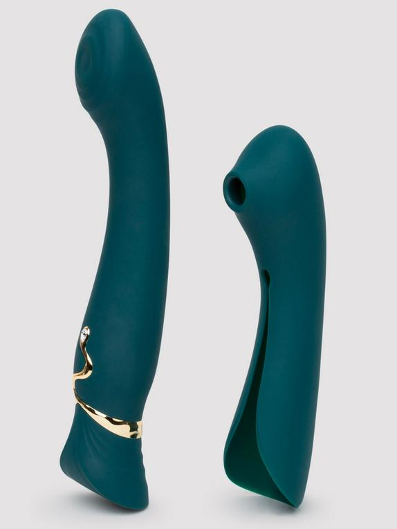 Zalo Queen App Controlled Warming G-Spot Vibrator with Suction Sleeve, Green, hi-res