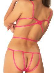 Oh La La Cheri Pink Crochet Lace Cage Body, Pink, hi-res
