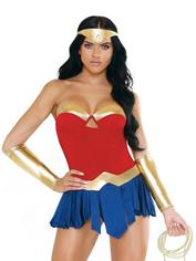 Fantasy Play Warrior Goddess Superhero Costume, Blue, hi-res