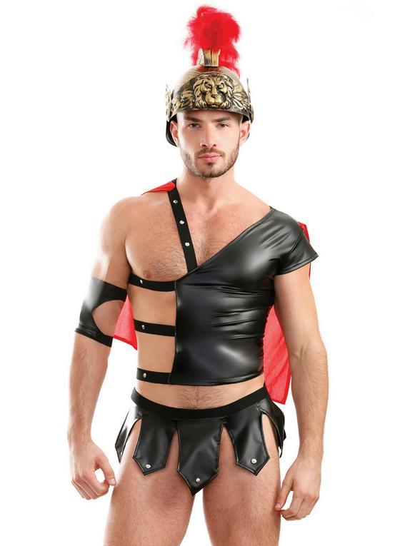 Fantasy Play Black Wet Look Gladiator Maximus Costume, Black, hi-res