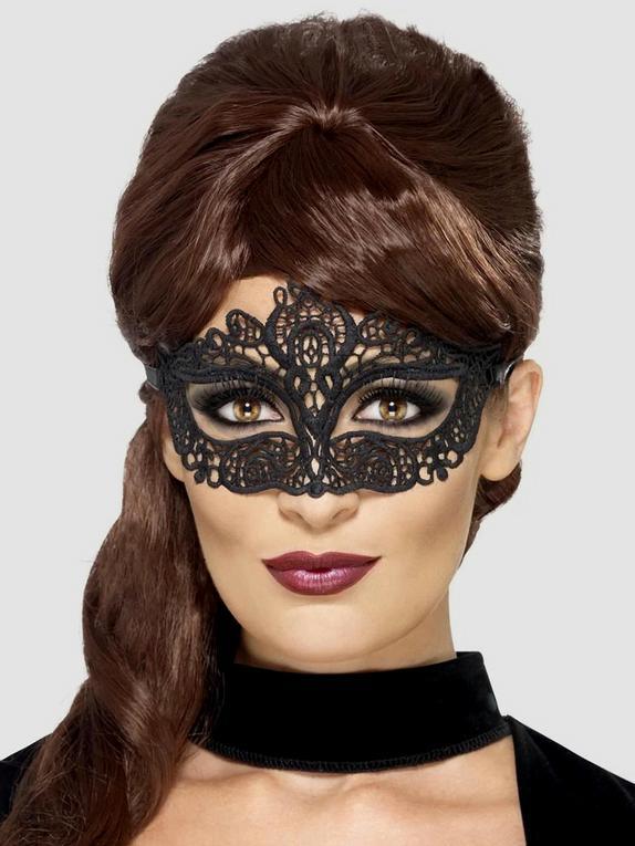 Fever Black Masquerade Lace Mask, Black, hi-res