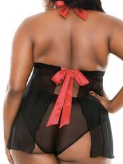 Fantasy Curve Plus Size Red Underwired Halterneck Babydoll Set, Black, hi-res