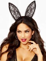 Seven 'til Midnight Lace Bunny Ears Headband, Black, hi-res