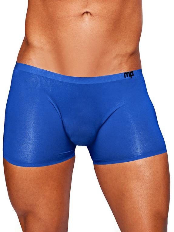 Male Power Blue Seamless Sleek Boxer Shorts, Blue, hi-res