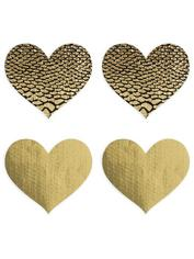 Peekaboos Premium Gold Heart Nipple Pasties, Gold, hi-res