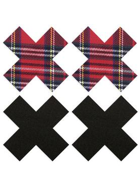 Peekaboos Premium Tartan and Black XXX Nipple Pasties