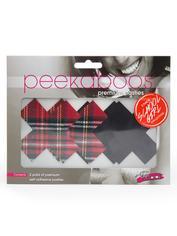 Peekaboos Premium Tartan and Black XXX Nipple Pasties, Red, hi-res