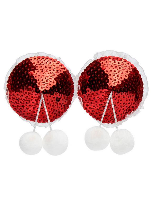 Peekaboos Red Sequin Pom-Pom Nipple Pasties, Red, hi-res