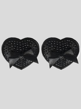 Peekaboos Premium Black Sparkly Heart Nipple Pasties