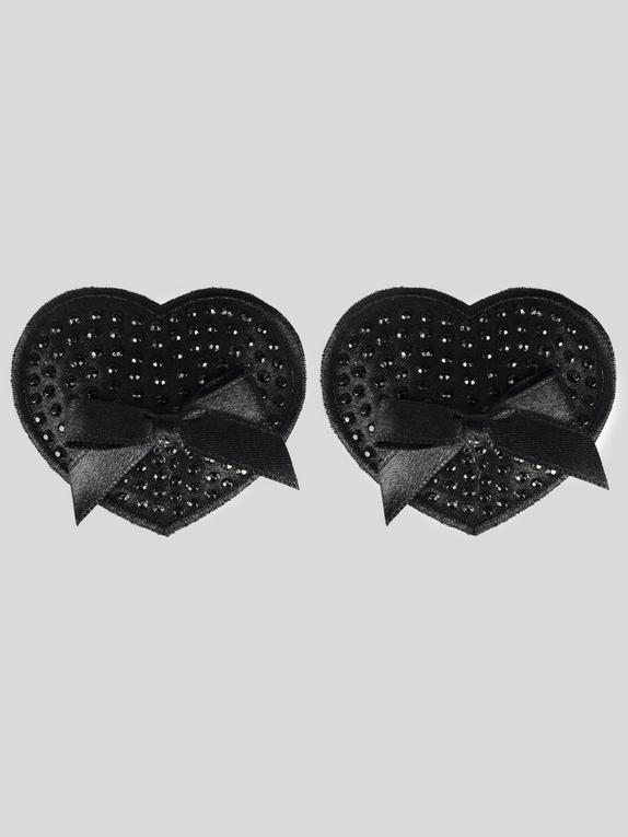 Peekaboos Premium Black Sparkly Heart Nipple Pasties, Black, hi-res