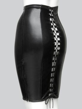 Easy-On Latex Black Skirt with Lace-Up Back