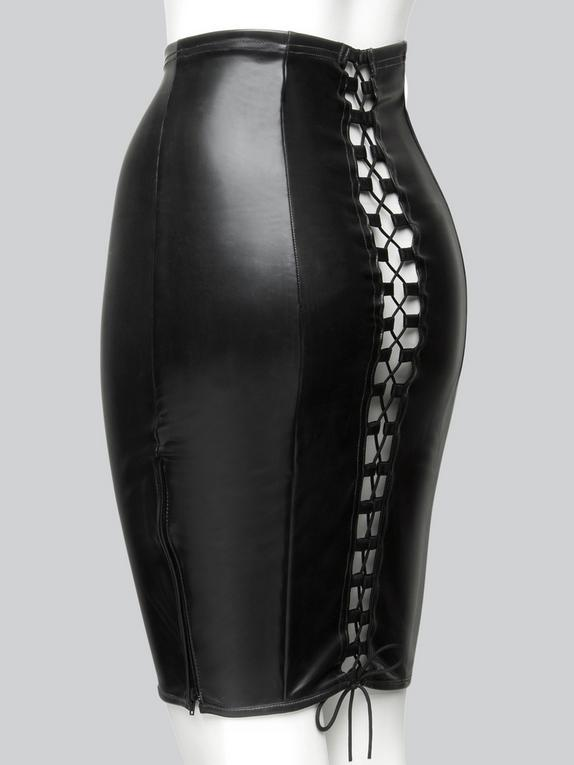 Easy-On Latex Black Skirt with Lace-Up Back, Black, hi-res