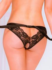 Seven 'til Midnight Black Lace Crotchless Tie-Side Knickers, Black, hi-res