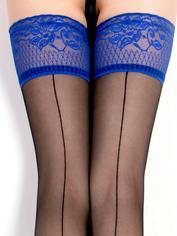 Ballerina Royal Blue Lace Top Back-Seam Hold-Ups, Blue, hi-res