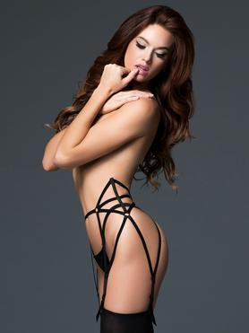 Allure Caged Black High-Waisted Suspender Belt