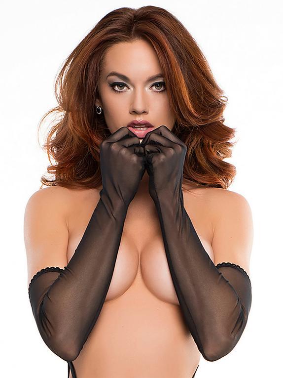 Allure Long Black Sheer Gloves, Black, hi-res