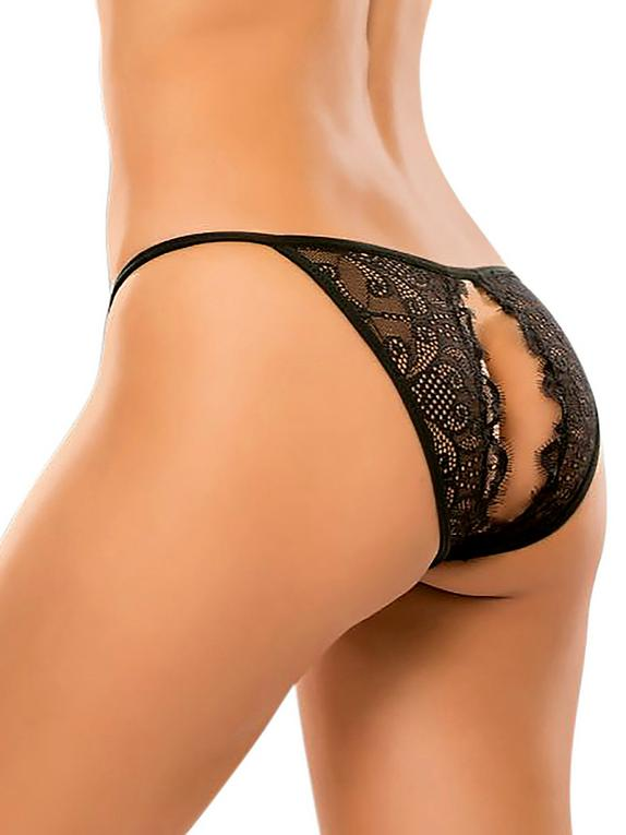 Allure Black Crotchless Lace Knickers, Black, hi-res