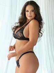 Allure Plus Size Black Lace Halterneck Bra Set, Black, hi-res