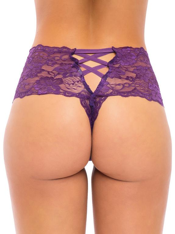 Oh La La Cheri Lace Crotchless Knickers, Purple, hi-res
