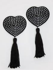 Peekaboos Black Satin Heart-Shaped Diamante Nipple Tassels, Black, hi-res