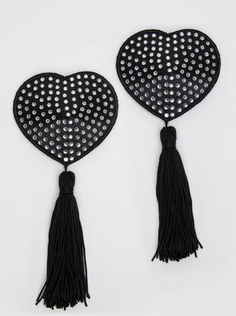 Peekaboos Black Satin Heart-Shaped Diamante Nipple Tassels