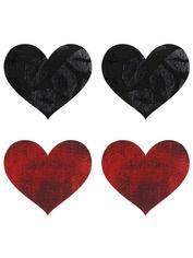 Peekaboos Black and Red Heart Nipple Pasties (2 Pairs), Red, hi-res