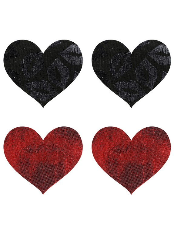 Peekaboos Black and Red Heart Nipple Pasties (2 Pairs), Red, hi-res