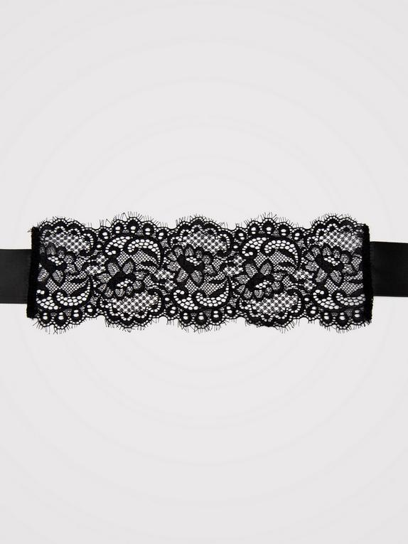 Bondage Boutique Black Lace Eye Mask, Black, hi-res