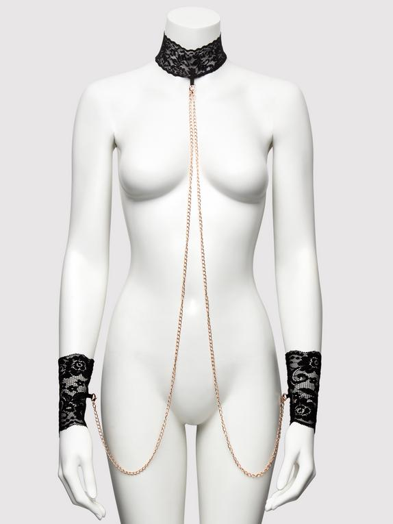 Bondage Boutique Black Lace Collar and Cuffs, Black, hi-res