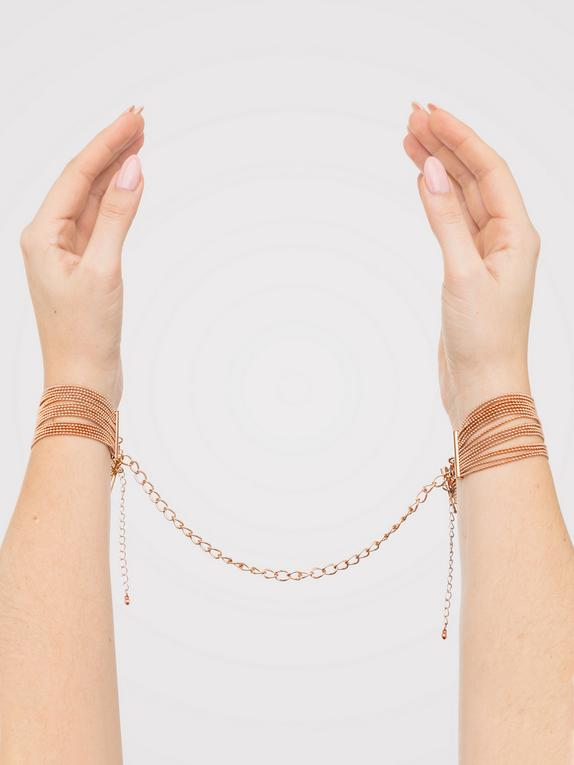 Bondage Boutique Rose Gold Bracelet Cuffs, Gold, hi-res