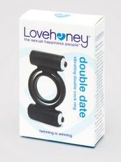 Lovehoney Double Date Silicone Vibrating Double Cock Ring, Black, hi-res