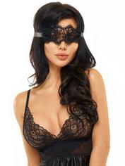 Beauty Night Black Satin Babydoll Set with Eye Mask , Black, hi-res