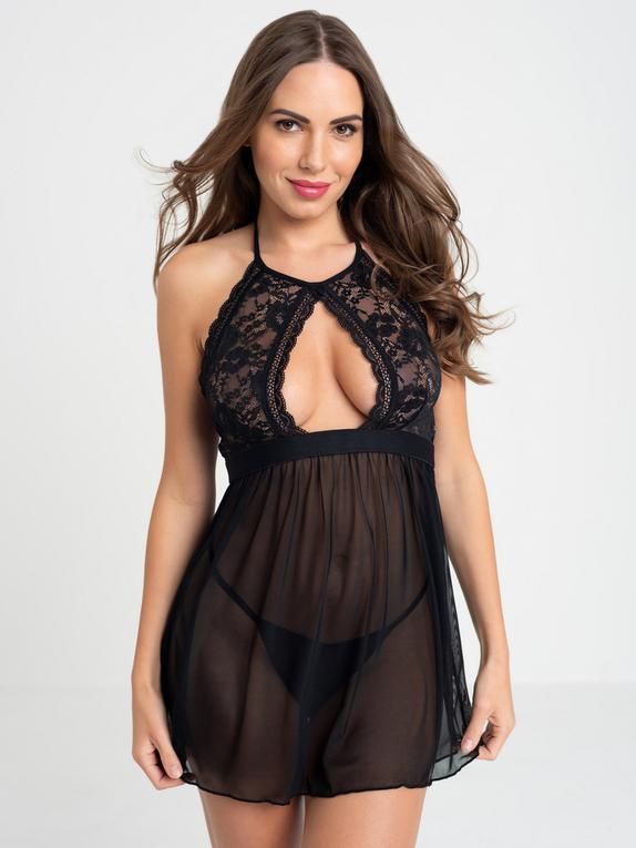 Lovehoney Flirty Black Lace Halterneck Babydoll , Black, hi-res