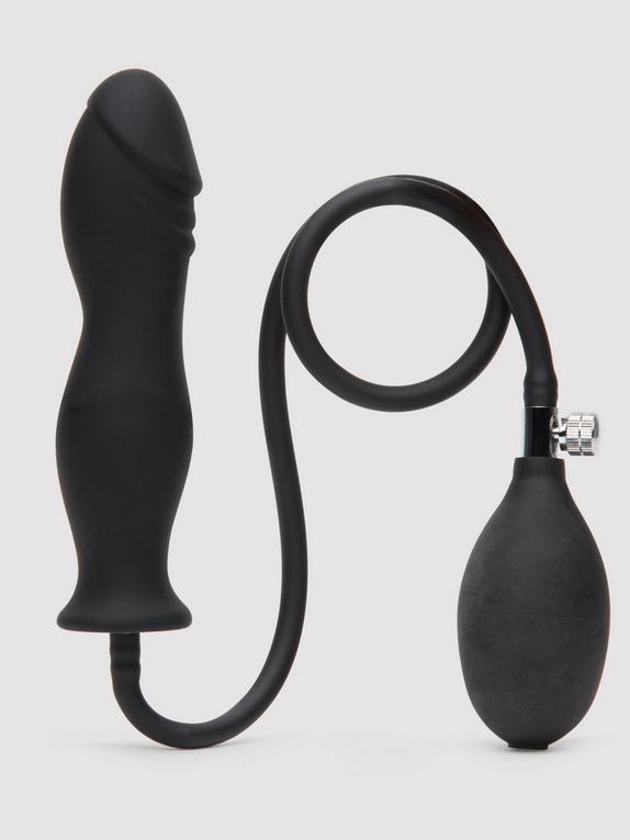 Lovingjoy Silicone Inflatable Dildo 6 Inch, Black, hi-res