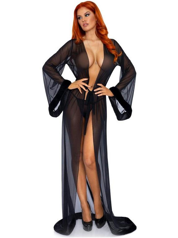 Leg Avenue Black Faux Fur Trim Robe Set , Black, hi-res