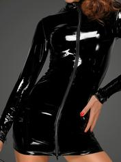 Noir Handmade Black Ultra-Shine PVC Mini Dress , Black, hi-res