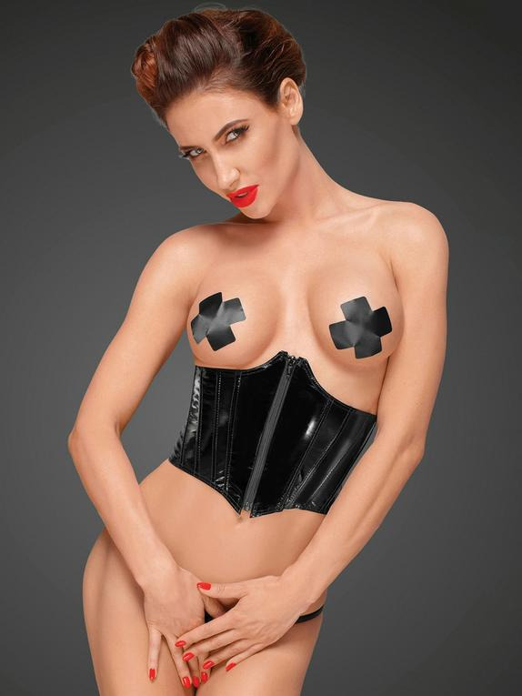 Noir Handmade Black Ultra-Shine PVC Underbust Corset, Black, hi-res