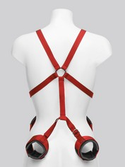 Scarlet Bound Body Harness with Wrist and Thigh Restraint, Red, hi-res