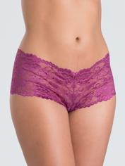 Lovehoney Flirty Black Lace Shorts, Purple, hi-res