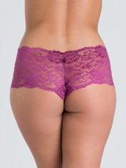 Lovehoney Flirty Black Lace Shorts, Purple, hi-res