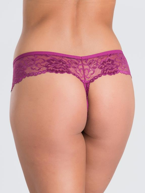 Lovehoney Flirty Plum Lace Thong , Purple, hi-res