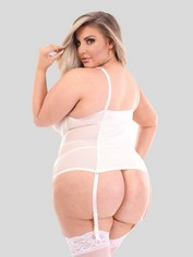 Lovehoney Treasure Me Purple Push-Up Basque Set, White, hi-res