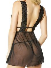 Oh La La Cheri Black Lace and Mesh Babydoll Set , Black, hi-res