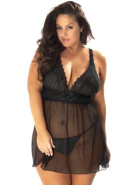 Oh La La Cheri Plus Size Black Lace and Mesh Babydoll Set