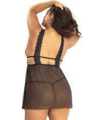 Oh La La Cheri Plus Size Black Lace and Mesh Babydoll Set , Black, hi-res