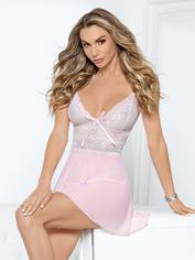 Escante Pink Lace and Mesh Babydoll Set, Pink, hi-res