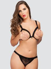 Lovehoney Flaunt Me Floral Lace Open Cup Bra Set, Black, hi-res
