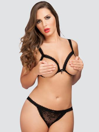 Lovehoney Flaunt Me Floral Lace Open Cup Bra Set