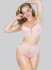 Lovehoney Parisienne Black Lace Plunge Longline Bra Set, Pink, hi-res